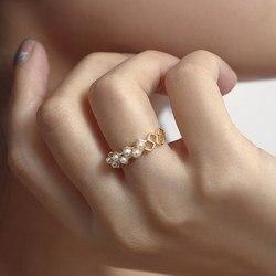Moda feminina na moda cor de ouro imitação de pérola anéis para senhoras feminino festa declaração jóias presentes