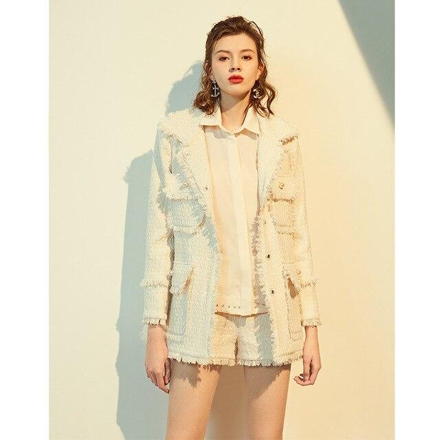 2020 Autumn Winter Tweed Jacket Coat Runway Luxury High Quality Cotton Wool Overcoat Fringe Blazer Female Lady Woolen Outerwear
