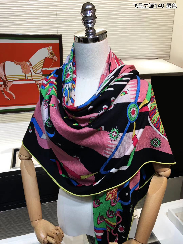 Bufanda de lujo 70% Cachemira 30% seda fina bufandas moda étnica Tribal estilo caballo impresión chal manta Kerchief 135*135cm