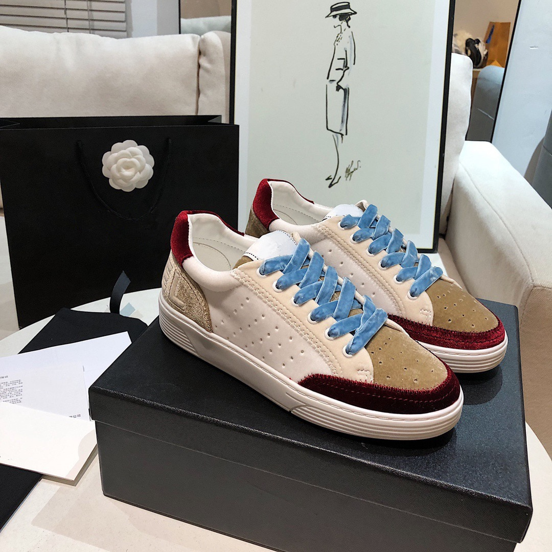 أحذية رياضية مخملية بألوان متنوعة ، أحذية برباط من الأمام بمقدمة مستديرة ، أحذية غير رسمية ذات قاع ثقيل ، مجموعة ربيع 2021 الجديدة