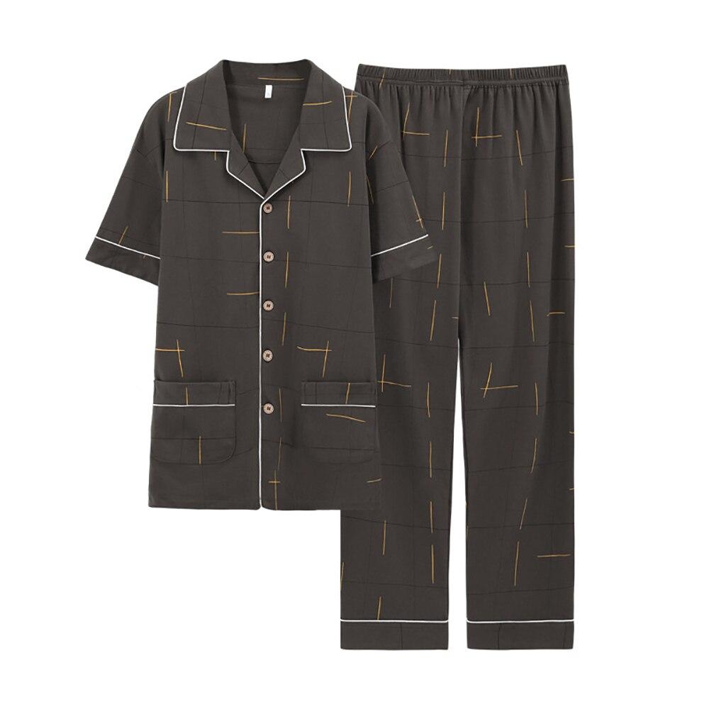 100% 25 хлопок лето тонкие пижама для мужчин повседневная гостиная одежда для сна пижамы весна плед принт пижамы комплекты мужские пижамы с пуговицами