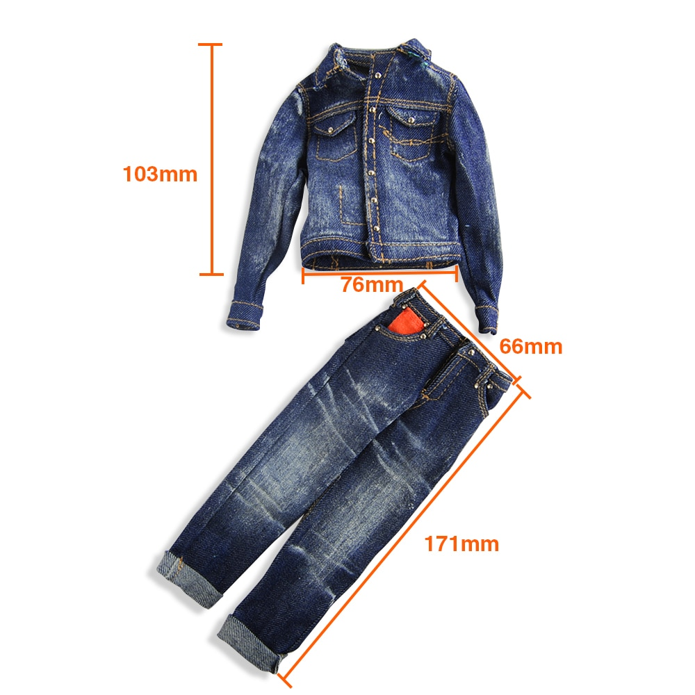 Soldier Model Clothing Handsome Cool Male Soldier Denim Jeans Suit Blue Suit Suitable For 12 Inch Male Body Model Scale 1:6 недорого