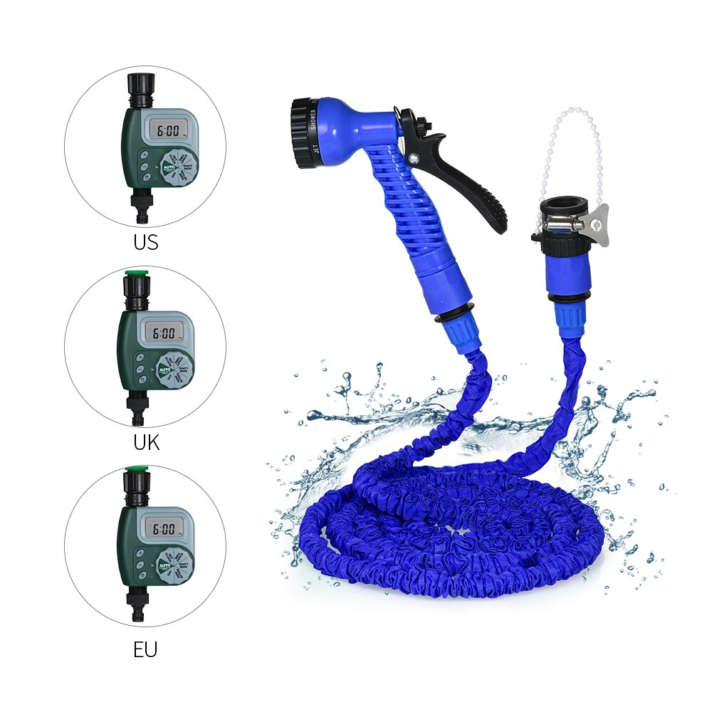 Temporizador de agua automático controlador de riego de jardín al aire libre + manguera de jardín expandible mágica manguera de agua Flexible con PISTOLA DE PULVERIZACIÓN