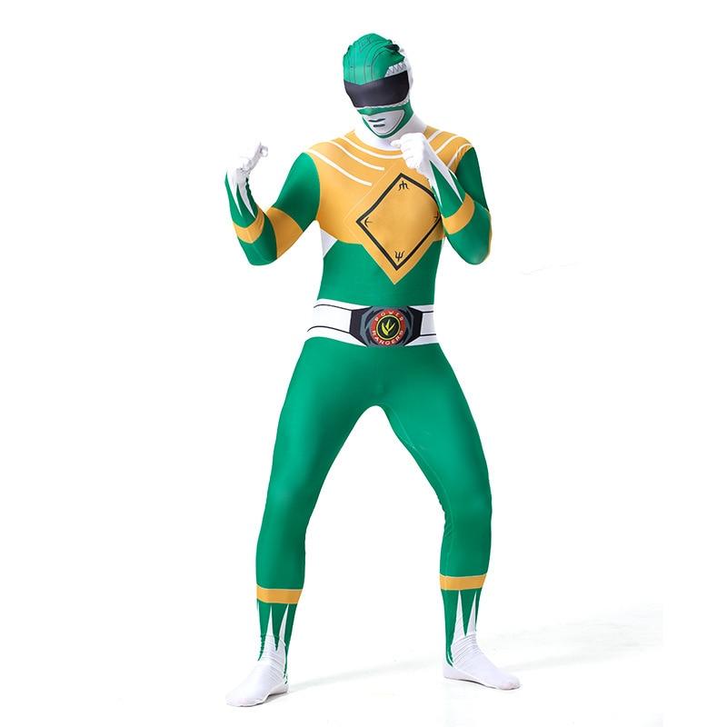 Мужская команда Дракона Зеленый зентай костюм Хэллоуин Косплей Костюм