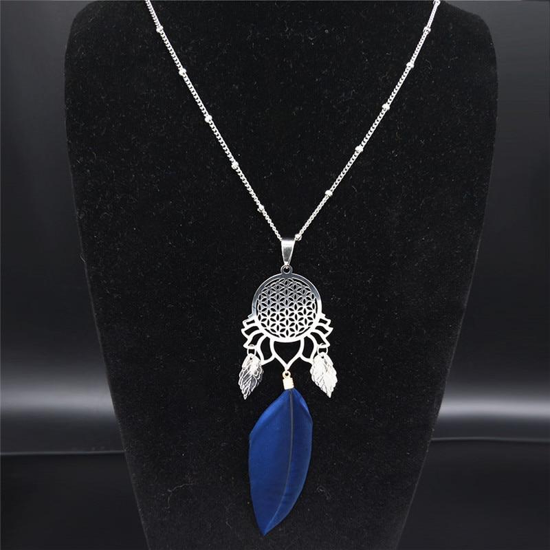 Flor de la vida pluma de acero inoxidable declaración collar mujeres Color plata borla de hoja collar largo joyas N1005S04