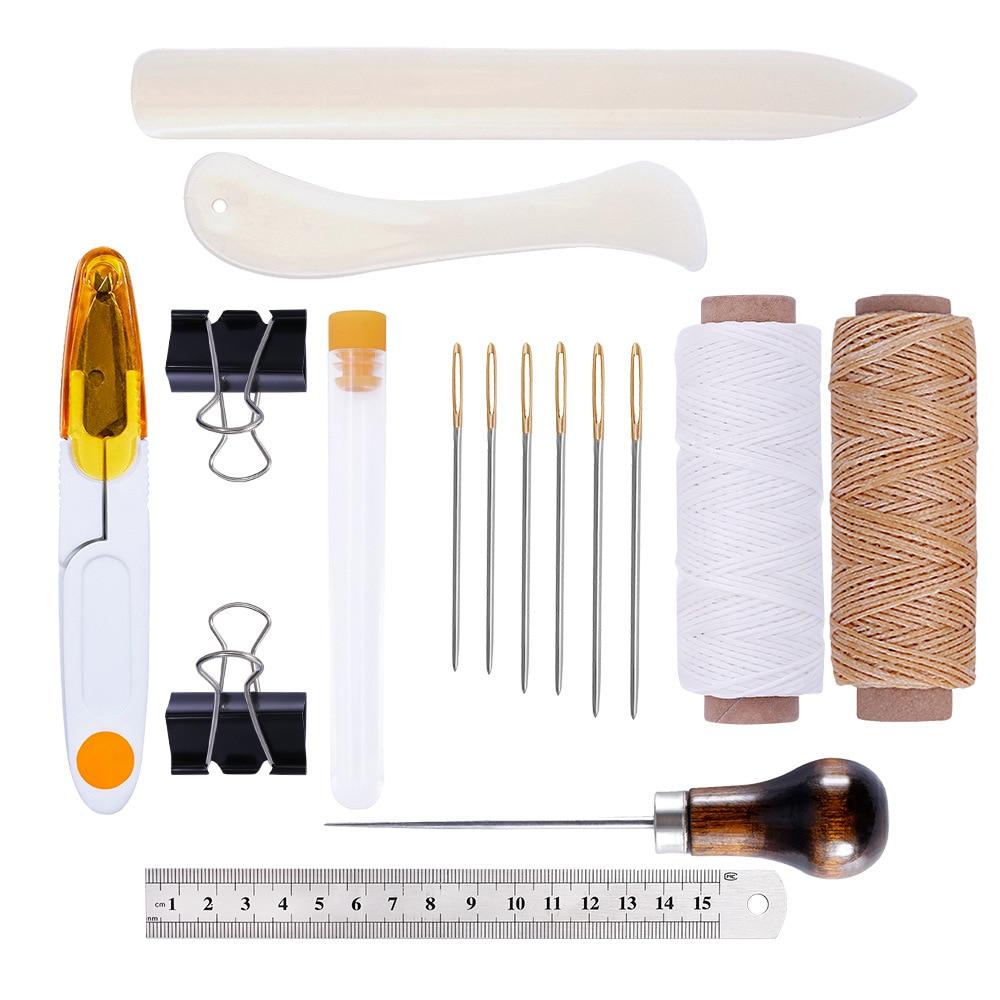 Kit dartisanat en cuir ensemble doutils de démarrage dossier dos papier Creaser fil ciré Awl aiguilles à gros yeux travail pour maroquinerie