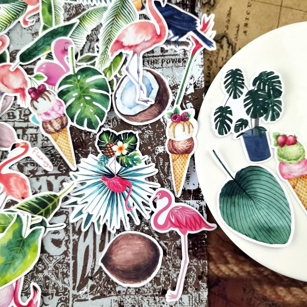 pegatinas-kawaii-ins-flaming-de-plantas-tropicales-paquete-de-regalo-artesanal-decoracion-adhesivo-diario-papeleria-planificador-naklejki-35-uds