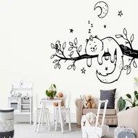 Autocollant mural colore avec arbre a chat et oiseau  decoration de mode pour chambre denfants  decoration de maison
