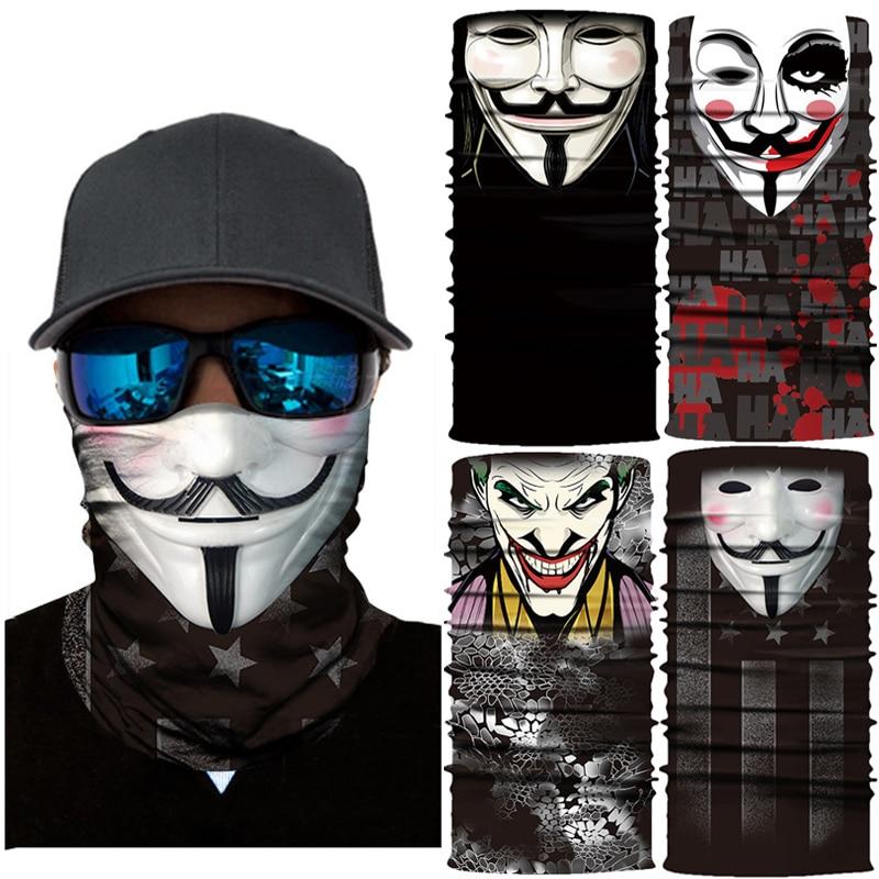 V для Vendetta аниме велосипед лыжный бесшовный Балаклава головной убор Джокер череп Шеи Банданы ветрозащитный волшебный шарф Велоспорт Hik маски