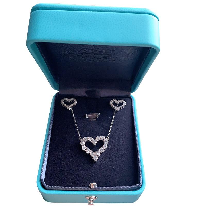 925 silver Valentine's Day set necklace earrings heart-shape creative fashion moissanite earrings female moissanite jewelry