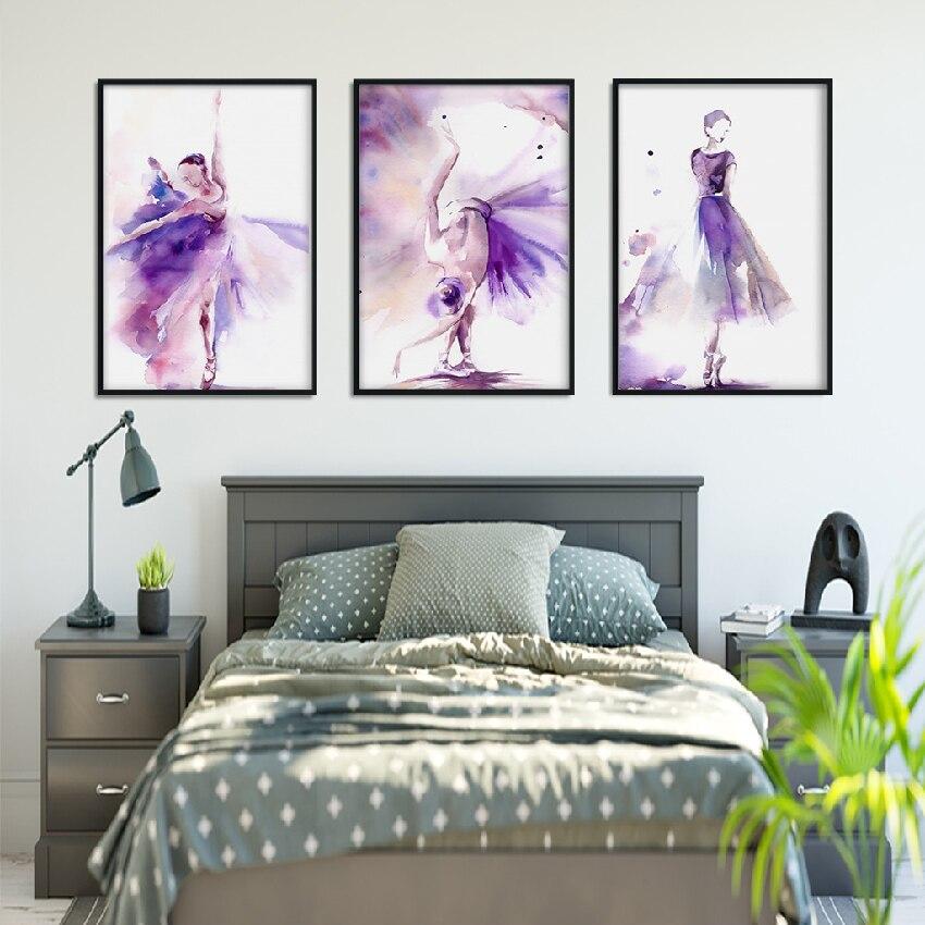Arte Abstracto póster impresión púrpura bailarina lienzo pintura cuadro hogar pared arte Graffiti dormitorio decoración moderna personalizada