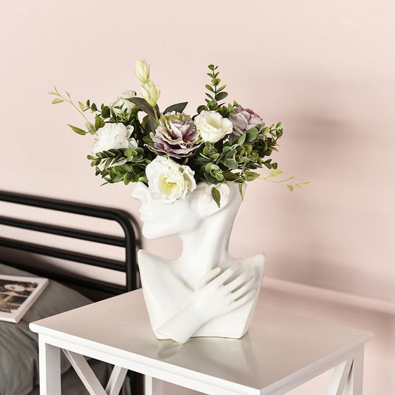 Vaso moderno da flor da estátua da cerâmica do plantador cerâmico com parte inferior antiderrapante para a parte inferior antiderrapante do jardim da casa