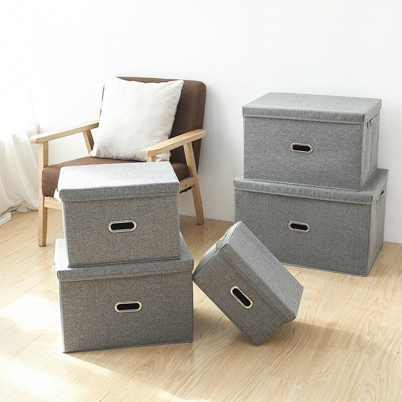 ساحة القطن الكتان خزانة ملابس صندوق كبير خزانة مستطيل صندوق تخزين المنظم مع غطاء N10N010B138
