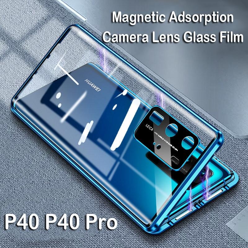 Магнитный чехол для телефона Huawei P40 Pro Mate 20X 5G Mate 30 стеклянный чехол для объектива камеры металлический бампер Honor 30S Note 10 9X V30