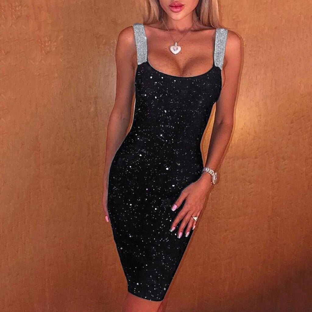 Night Club Women Slim Dress Sexy Sleeveless Glitter Shimmer Backless Sheath Party Dress Summer Ladies Club Bodycon Mini Dress