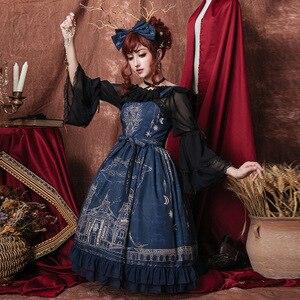 JSK Gothic Lolita Dress Vintage Court Cute Girl Printing Lace Fabala Cos Costume Boat-neck Chiffon Flare Sleeeve Shirt Petticoat