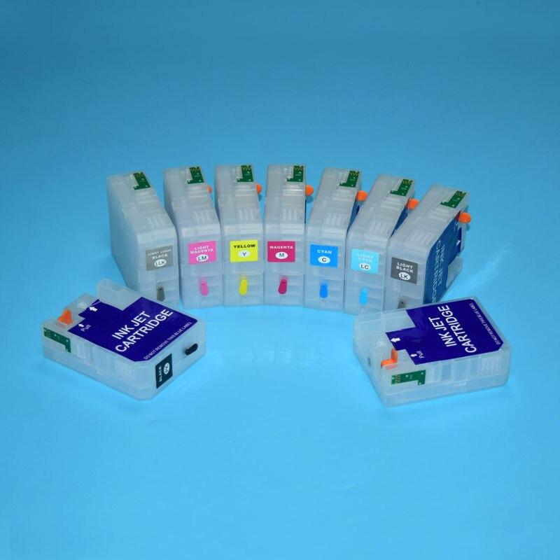 80 ml/unid 9 colores/conjunto T5801-T5809 T5811-T5819 T5891-T5899 recargable vacía cartucho de tinta para Epson Stylus Pro 3800, 3880, 3890, 3850
