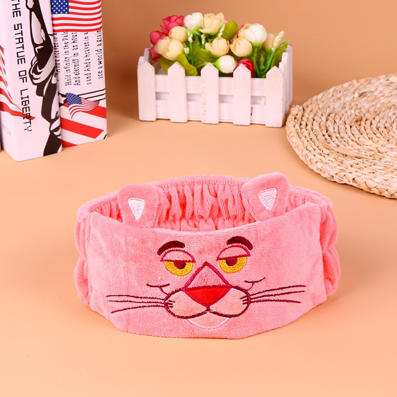 Розовый озорной Тигр милый мультфильм Вышивка повязка на голову мыть лицо макияж повязка на голову аксессуары для волос лента для волос