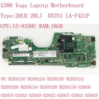 dtzs1 la f421p for thinkpad x380 yoga motherboard mainboard i5 8350u 16g fru 5b20x01205 5b20x01240 5b20x01207 5b20x01242 02da022