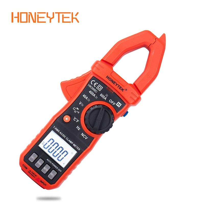 HONEYTEK  True RMS Multimeter Clamp Meter With Temperature NCV Tester Ammeter Pliers Flashlight Digital Clamp Meter Auto Range