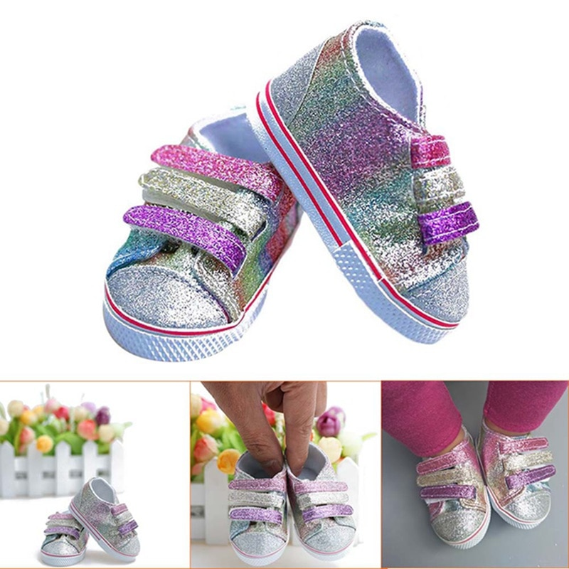 Fashion Sequins Doll Shoes Fits 18 Inch 43cm American Dolls Baby New Born Shoes DIY Doll Accessories