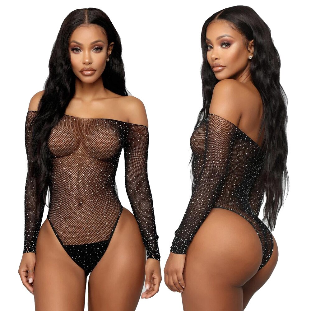 Black Sexy Off Shoulder diamond Bikini Fishnet Lingerie Jumpsuits Rompers Playsuits Bodysuits Novelt