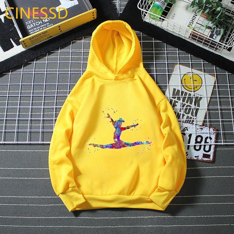 Watercolor Gymnastics Girl Print Children Winter Sweatshirts Kids Thick Fleece Girls Sport Clothes White Yellow Tracksuit Hoodie