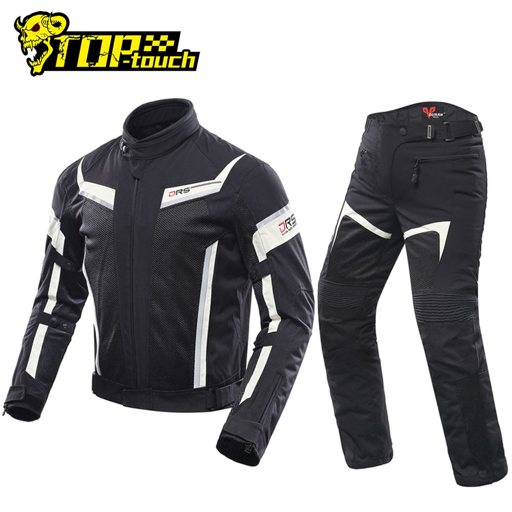DUHAN-سترة سباق الدراجات النارية, جاكيت دراجة نارية للرجال بنطلون يسمح بالتهوية جاكيت سباق الدراجات النارية