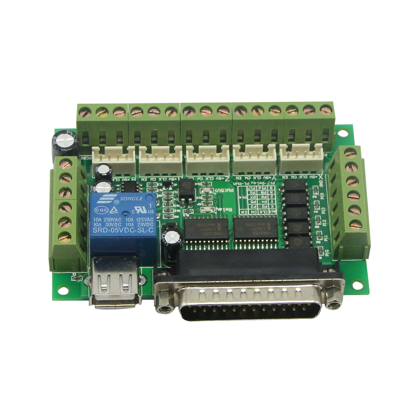 Upgraded 5 Axis CNC Breakout Board For Stepper Driver Controller mach3 Engraving Machine 4 axis cnc breakout board parallel stepper motor driver module lv8727