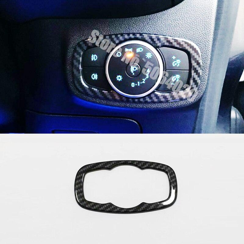 ABS mate/fibra de carbono para Ford Fiesta MK8 2017 2018 2019 accesorios faros de coche ajuste interruptor cubierta Trim Car Styling