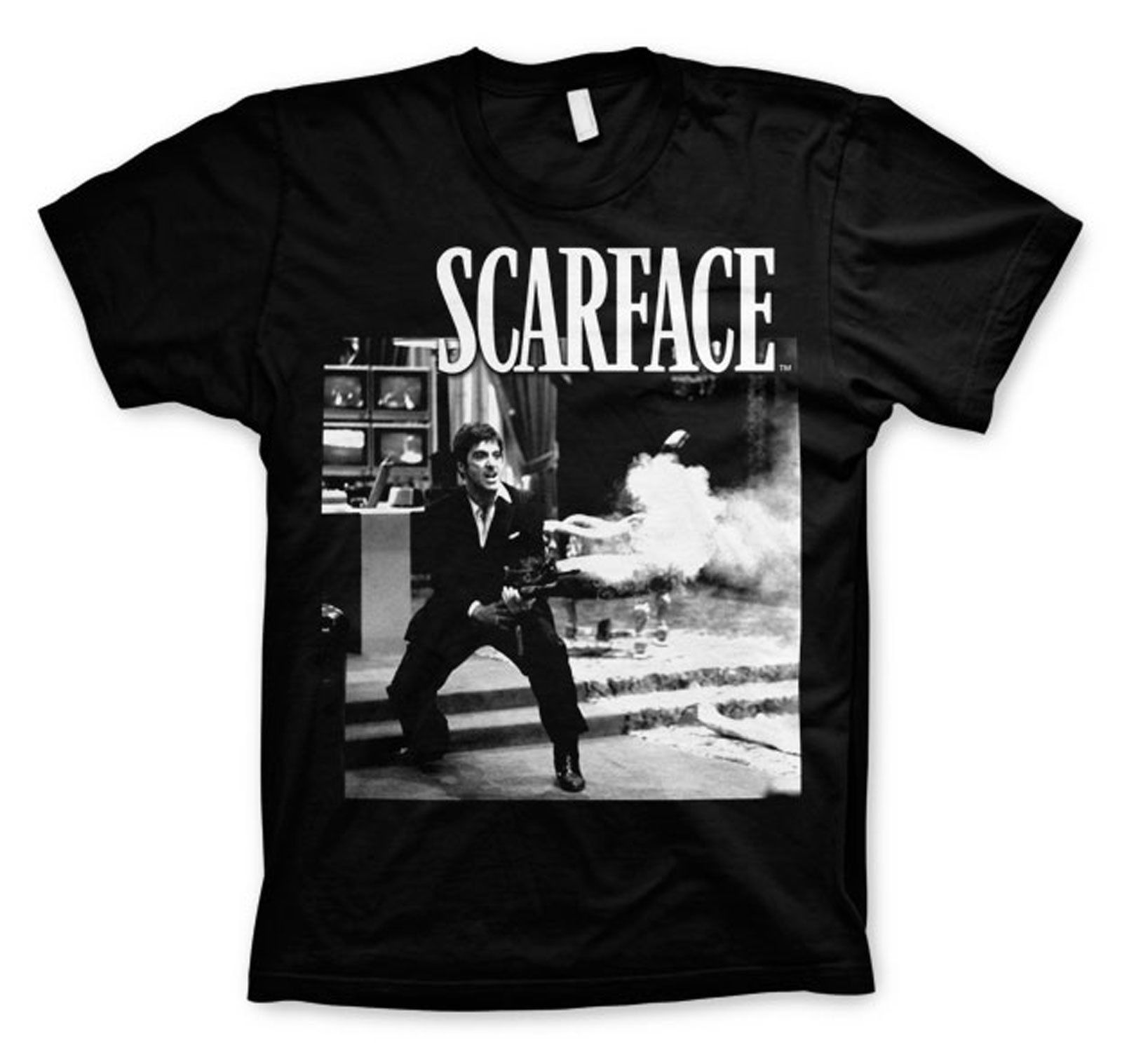 Unisexe licencia oficial Scarface película Tony Montana camiseta Noir hombres camiseta imprimir algodón manga corta Camiseta