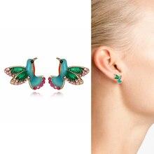 1 Pair Hummingbird Ear Stud Earrings For Women Cute Animal Flying Bird Jewelry Delicated Crystal Col