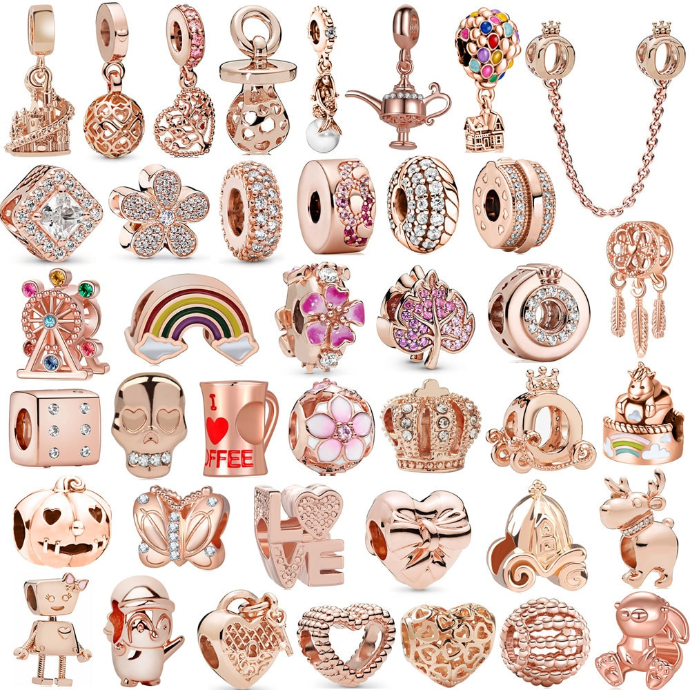 Fit Original Pandora Charms Bracelet Rose gold Dreamcatcher Freehand clip bead DIY Jewelry Making Berloque