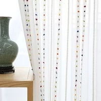 colorful striped white tulle curtains for living room bedroom modern sheer curtain drape window