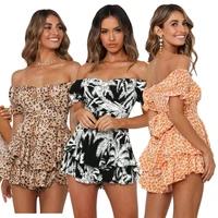 women bodysuit summer sexy ruffled one shoulder jumpsuit digital printing tube tops shorts ladies casual floral printing rompers