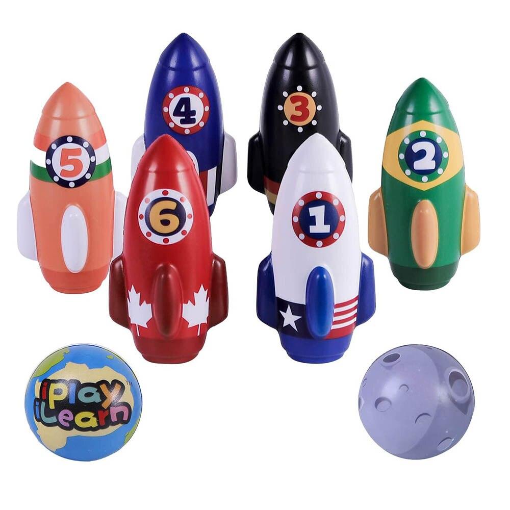 Iplay, ilearn crianças conjunto de boliche foguete, jogo de jogo interno macio, brinquedos ativos dos esportes da criança, presentes para 3 4 5 anos de idade