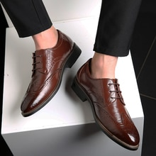 Men Casual Shoes Plus Size PU Leather Lace Up Sewing Shallow Breathable Male Brock Shoes Business Fo