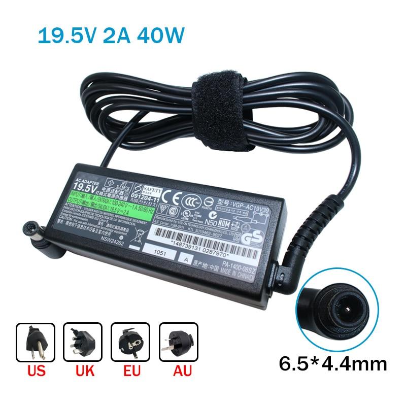 Genuino 19,5 V 2A 40W ordenador portátil AC adaptador para Sony VGP-AC19V39...