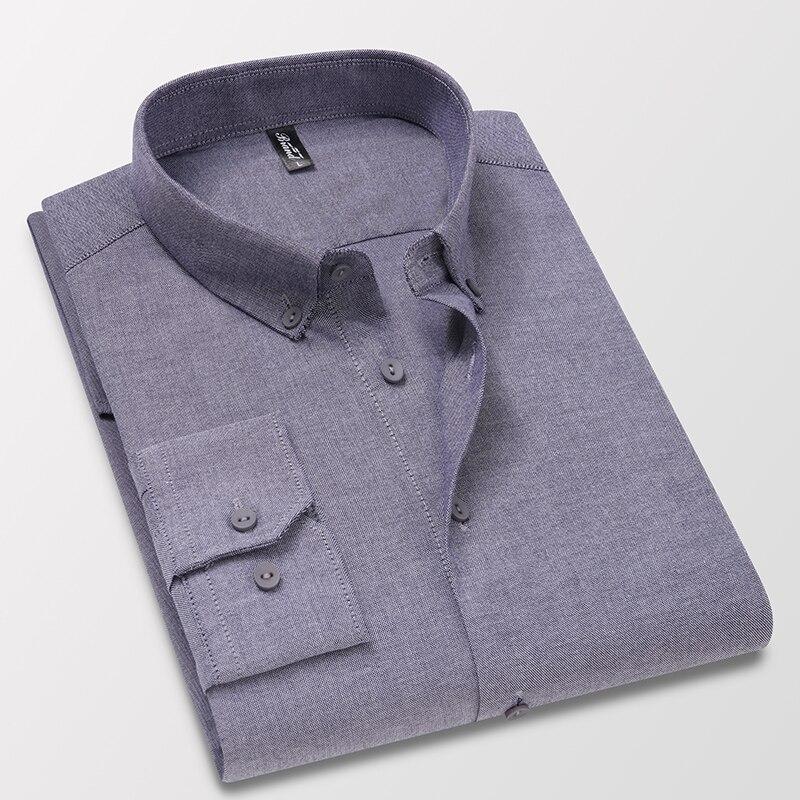 Мужская Повседневная рубашка из ткани Оксфорд, однотонная Классическая рубашка с длинными рукавами, одним накладным карманом и воротником ...