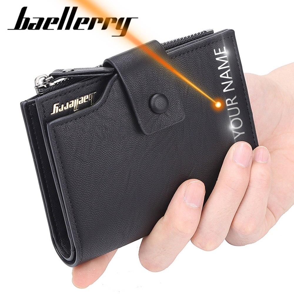 2019 Baellerry Business Mannen Portefeuilles Kaarthouder Korte Desigh Rits Mannen Lederen Portemonnee Solid Coin Pocket Hoge Kwaliteit Mannelijke Portemonnee