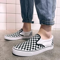 classic check printed slip on mens casual canvas shoes low flat designer board shoes comfort vulcanized sneakers men espadrille