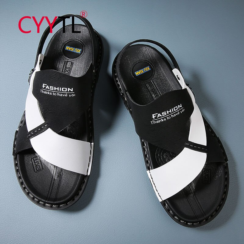 CYYTL Men's Slide Sandals Leather Beach Indoor and Outdoor Slippers Anti Skidding Flat Shoes Soft Casual Summer Pantoufle Homme
