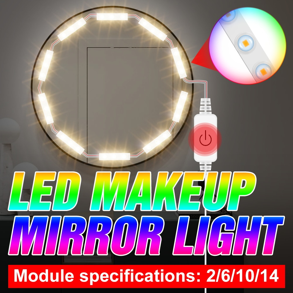 LED Makeup Lamp Dressing Table 2 6 10 14 Modules Kits USB DC 5V Mirror Light LED Dimmable Wall Lamps Hollywood Cosmetic Light