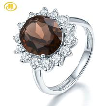 Hutang 11X9mm cuarzo ahumado anillo de compromiso piedra preciosa Natural sólida plata 925 joyería de piedra fina de moda para las mujeres Gi