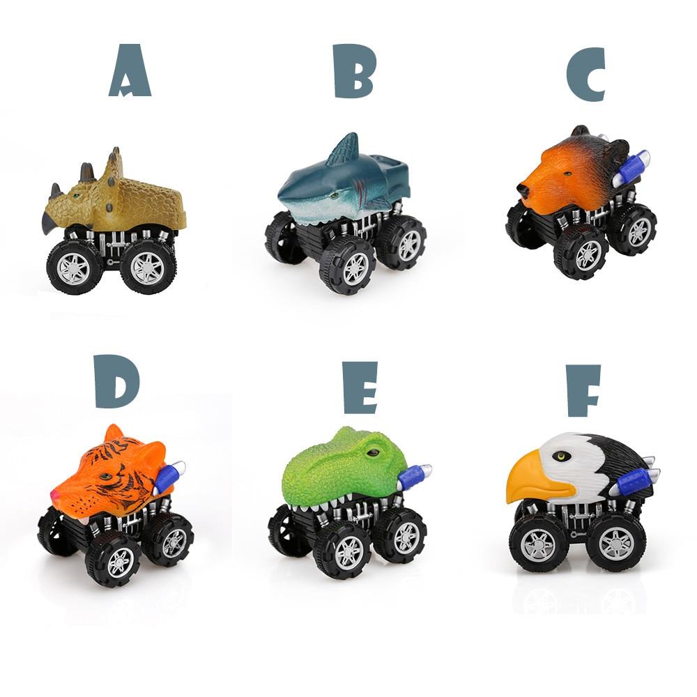 Dinosaurio modelo animal de simulación, leopardo, cebra, vehículo Mini tiburón, jirafa, camión Delfín de juguete Tigre Tire hacia atrás coche niño juguetes regalos