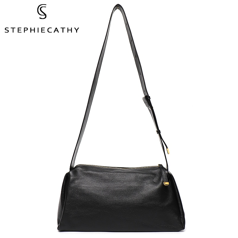 SC Women's Genuine Leather Crossbody Bags Simple Style Casual Hobo Shoulder Purse Female Cowhide Large Travel Gym Pillow Handbag