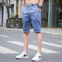 2021 mens cottonthin denim ruched short pants new fashion summer male casual low waist short jeans shorts stretch pant s 5xl