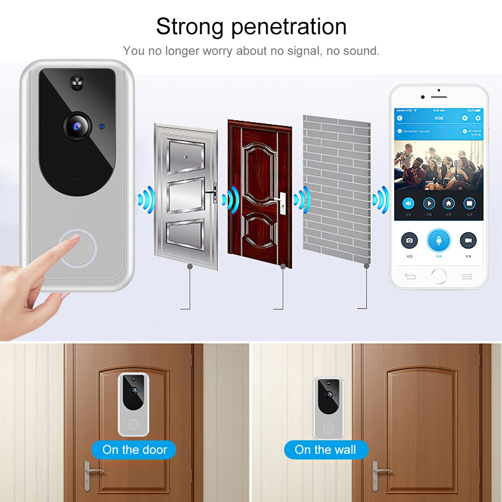 Wireless Wifi Doorbell Home Smart Phone Door Bell Camera Security Video Intercom with 1080P HD IR Night Vision for Apartments enlarge