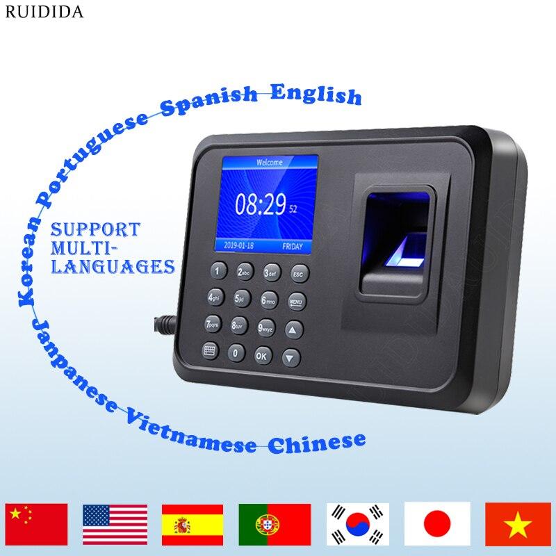 بصمة وقت آلة بصمة جهاز حضور وانصراف ذكي بصمة وقت جهاز متعدد اللغات 2.4 بوصة شاشة LCD