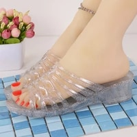 crystal plastic slippers jelly hollow bathroom slippers thick bottom non slip deodorant easy to wash home vintage sandals
